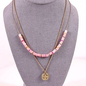 Delicate Necklace Set Pink Minimal Beachy Beaded Gold Tone Charm Coin 2 Necklace